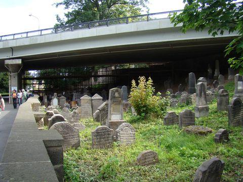 zidovský hřbitov pod silnicí