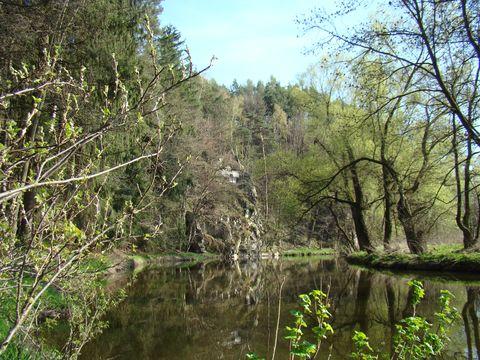 skalnaté břehy řeky blízko Třebíče