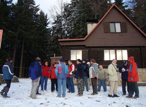 výklad u lyzařské chaty nad sjezdovkou