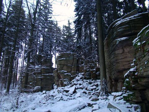 Čertův hrádek v zimě