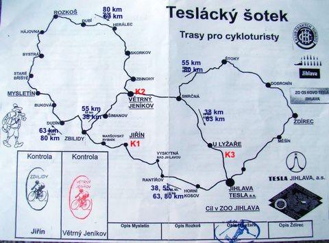 důmyslná mapka všech cyklotras