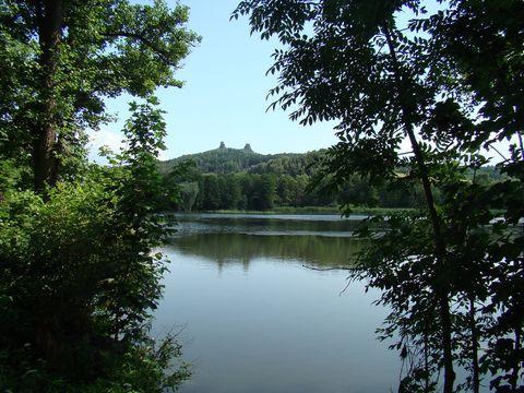 pohled na trosky přes Rokytnický rybník
