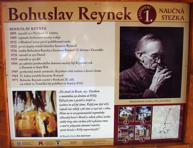 informační tabule na začátku stezky u kostela Nanebevzetí Panny Marie