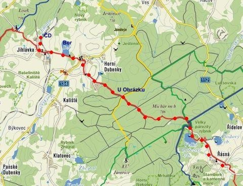 trasa pochodu Cestou Jana Hvězdy z Vícemilic 6.11.2011