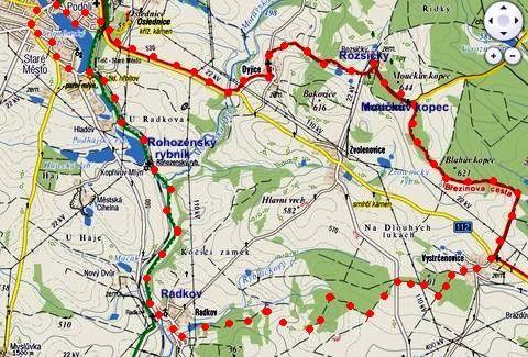 trasa pochodu vysočinou k Telči 5.11.2011