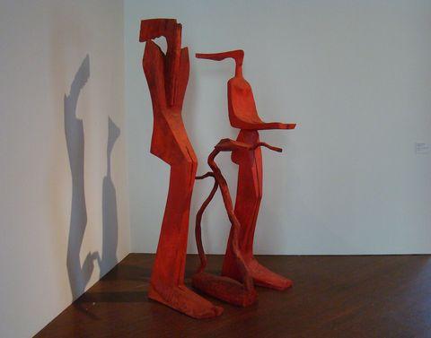Ráj - Eva, had, Adam, 2009-10, polychromované dřevo