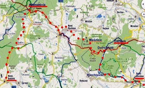 výlet na běžkách z Nové Bukové přes Křemešník do Nového Rychnova, přes Mešnici do Dolní Cerekve 11.2.2012