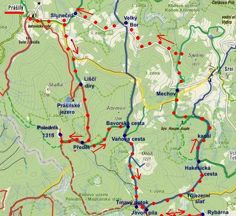 trasa z Prášil na Poledník, Javoří Pilu, podél kanálu, přes Mechov a Velký Bor zpět 27.1.2012