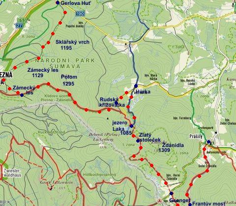 trasa z Gerlovy Huti přes Zámecký les na Rudskou křižovatku, Hůrku, Laka, Gsenget do prášil 28.1.2012