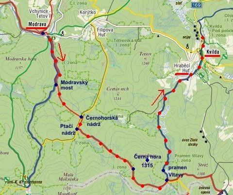 trasa z Modravy přes Černou horu a prameny Vltavy do Kvildy 29.1.2012