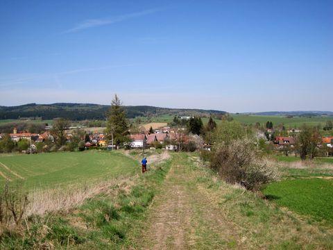 pro porovnání s březnovým obrázkem - pohled na Dolní Cerekev od lesa na kopci