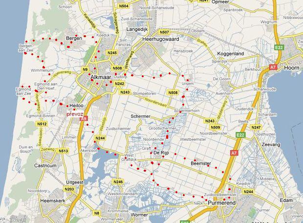 trasa Purmerend-Alkmaar-Bergen-Egmond-Purmerend
