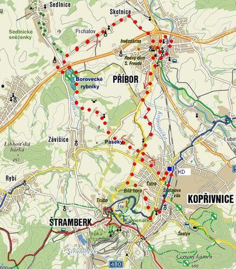 trasa z Kopřivnice přes Borovecké rybníky do Příbora a zpět do Kopřivnice 19.11.2011