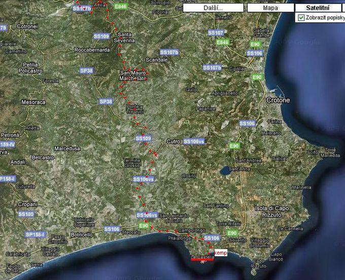 trasa do Le Castella 23.6.2009