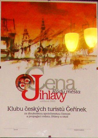 Cena Rady města Jihlavy z roku 2001, udělená KČT Čeřínek