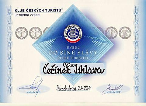 listina o uvedení odboru KČT Čeřínek do Síně slávy