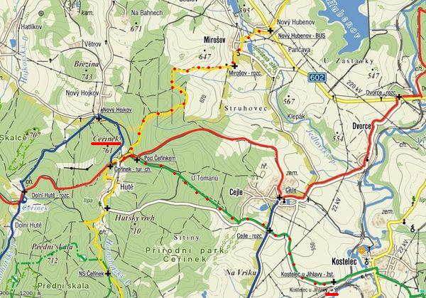 trasa z Hubenova přes Čeřínek do Kostelce