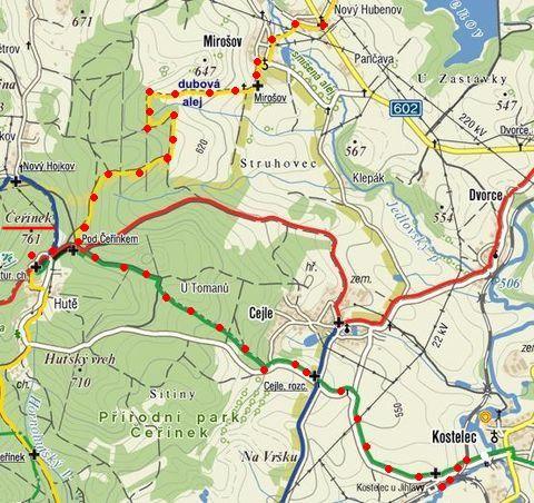 trasa vycházky na Čeřínek 21.1.2012