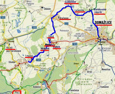 trasa z Domažlic přes Baldovské návrší, Draženov, Újezd, Hrádek do Trhanova 29.9.2011