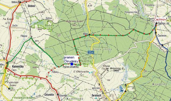 trasa z Čachnova přes pramen Chrudimky do Kameniček