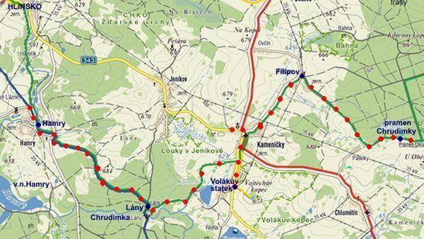 trasa silvestrovského pochodu k prameni Chrudimky 30.12.2011