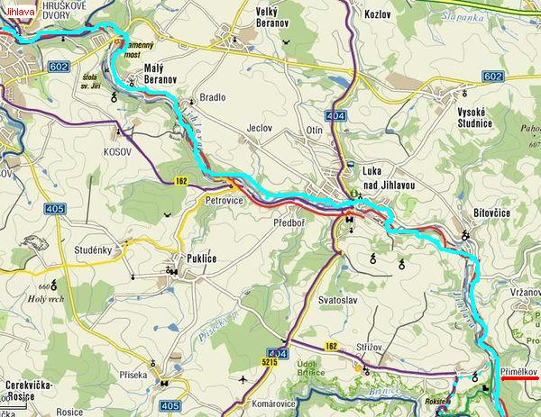 trasa cyklostezky-úsek Jihlava - Přímělkov