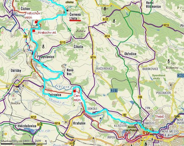 trasa cyklostezky-úsek Červená Lhota - Třebíč