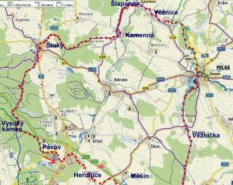 denní trasa Pávov-Heroltice-Rytířsko-Polná-Horní Věžnice-Šlapanov-Lutrián-Kamenná-Štoky-Vysoký kámen-Pávov