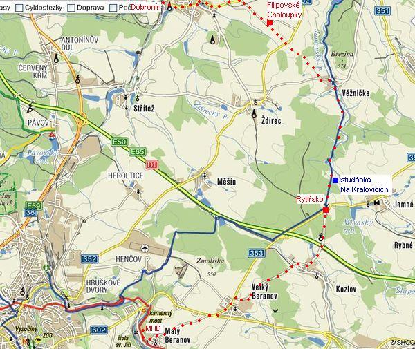 trasa z Dobronína přes Rytířsko do Malého Beranova