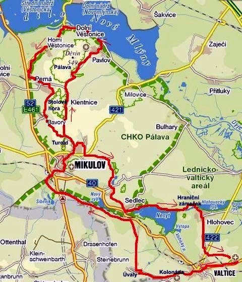 cyklojízda z Valtic přes Mikulov do Dolních Věstonic a přes Hlohovec zpět 15.9.2011