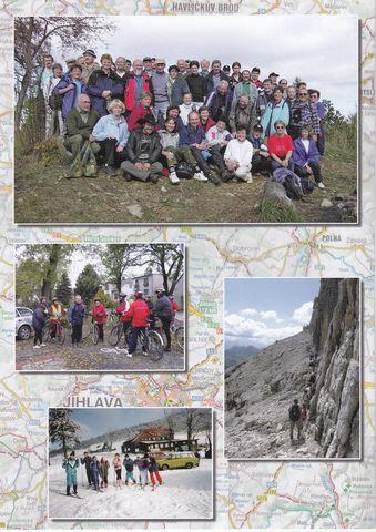 na zadní straně obálky jsou vedoucí a cvičitelé turistiky z oblasti KČT Vysočina a druhy přesunových prostředků