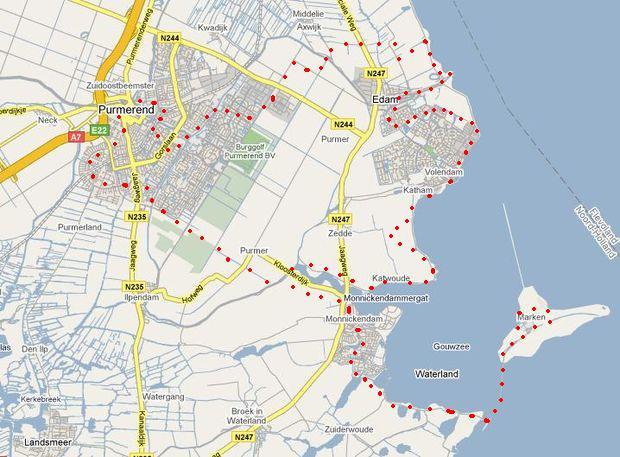 pondělní trasa Purmerend-Edam-Volendam-Marken-Purmerend