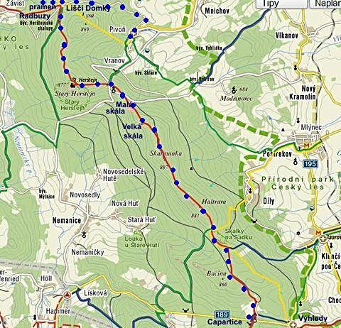 trasa z Capartic přes Haltravu, pramen Radbuzy do Pivoně 30.9.2011