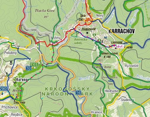 trasa z Harrachova na Hvězdu