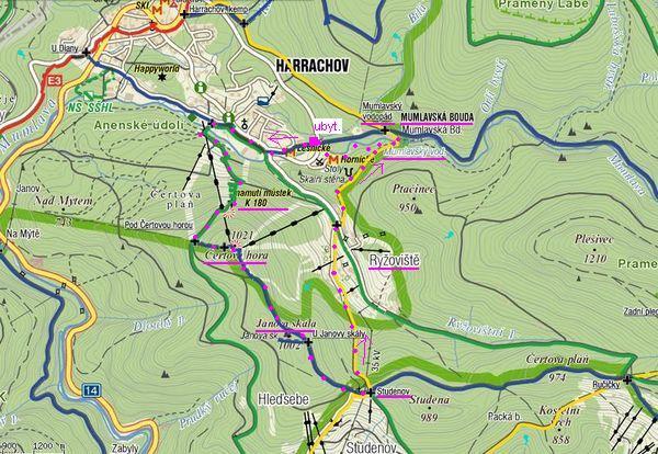 trasa Čertova hora-můstky-Mumlavský vodopád-Lovecká Mumlava