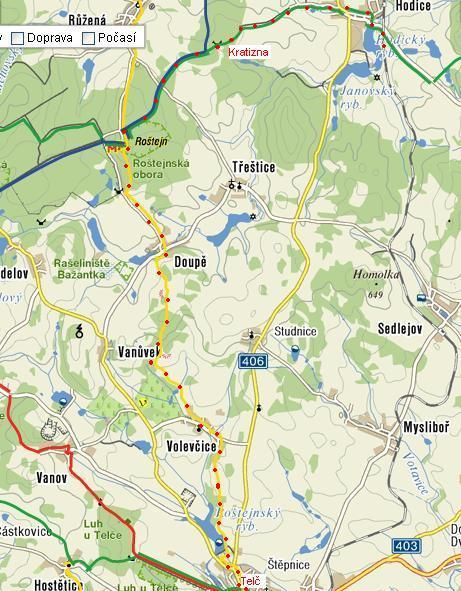 trasa z Hodic do Telče
