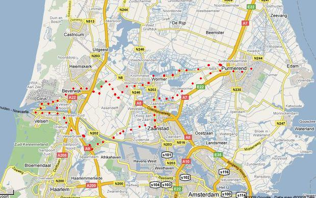 trasa Purmerend-IJmuiden-Zaanstad a zpět