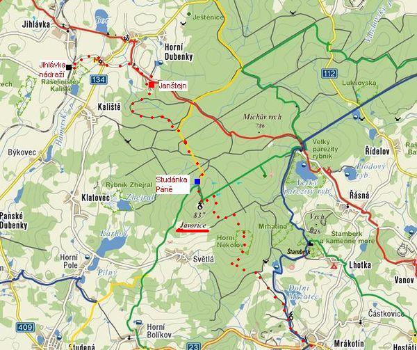 trasa z Mrákotína přes Javořici do Jihlávky