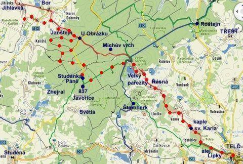trasa přechodu Jihlavských vrchů přes Javořici 14.1.2012