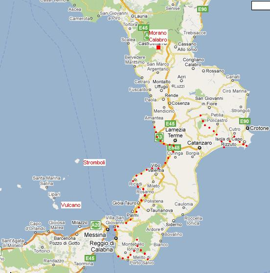 mapa Kalábrie s vyznačenými cyklotrasami