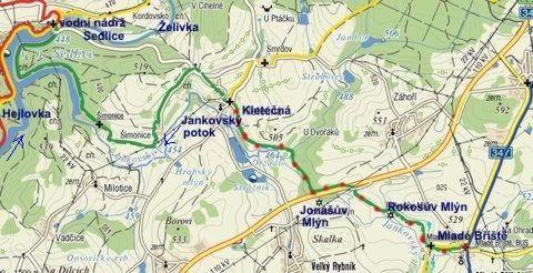 značení zelené trasy z Mladých Bříšť do Kletečné