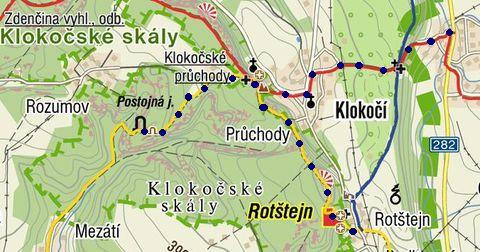 trasa z Klokočí na Rotštejn, Postojnu a zpět 21.8.2011
