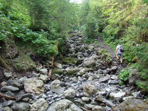 vody Ríglového potoka se ztrácejí pod zemí