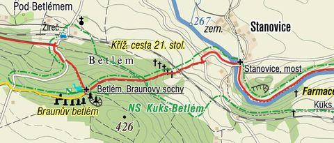 Křížová cesta 21. století je u železniční trati ve stráni mezi obcemi Žireč a Stanovice