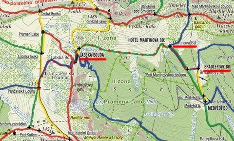 lyžařská trasa na Labskou boudu a zpět 11.3.2011