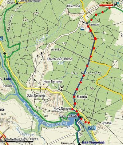 trasa z přehrady Les Království k poutnímu kostelu u Kocléřova 5.5.2011