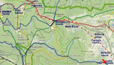 pěší trasa z Brádlerových bud přes Petrovku a Špindlerovku na Stříbrné návrší 12.3.2011