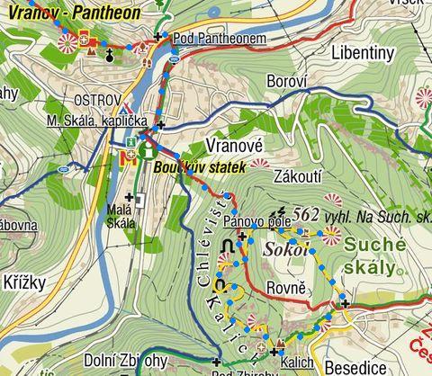 trasa z Malé Skály na Sokol, okruh Besedickými skalami, zpět na Malou Skálu a Vranov 19.8.2011