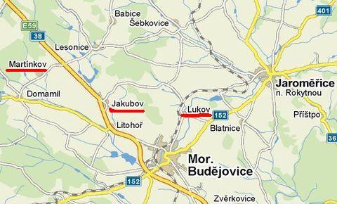 poloha Martínkova, Jakubova a Lukova u Moravských Budějovic