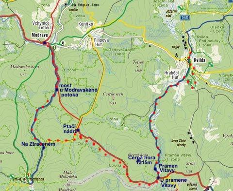 trasa z Modravy přes Březník a Černou horu na Kvildu